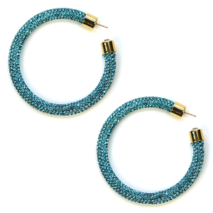 Earring 328f 69 Bach rhinestone earrings hoop turquoise
