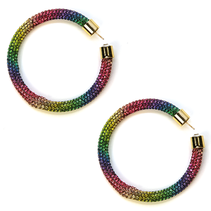 Earring 337h 69 Bach rhinestone earrings hoop multicolor
