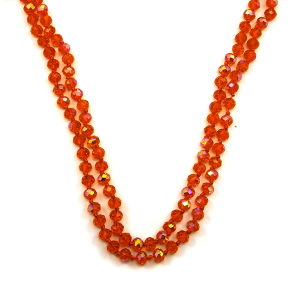 Necklace 1792a 30 60 inch bead necklace clear orange