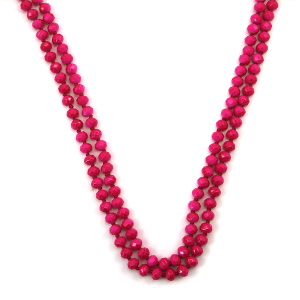 Necklace 249a 30 60 inch bead necklace neon pink