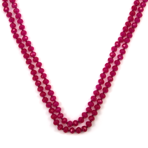 Necklace 028f 30 60 inch bead necklace pink