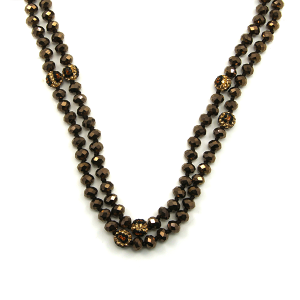 Necklace 663a 30 60 inch bead necklace brown leopard