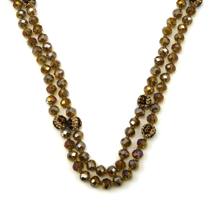 Necklace 1077a 67 30 60 inch bead necklace leopard bead accents 02