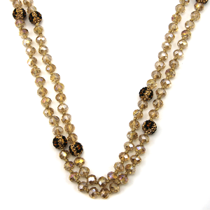 Necklace 1135f 67 30 60 inch bead necklace leopard bead accents 04