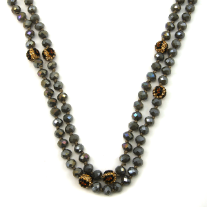 Necklace 1044b 67 30 60 inch bead necklace leopard bead accents 05