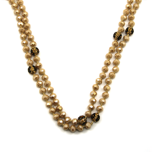 Necklace 1659 30 60 inch bead necklace beige leopard