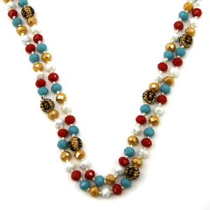Necklace 927c 67 30 60 inch bead necklace leopard bead accents 31
