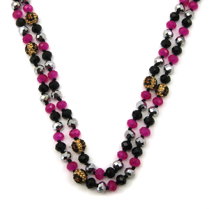 Necklace 1045a 67 30 60 inch bead necklace leopard bead accents 33