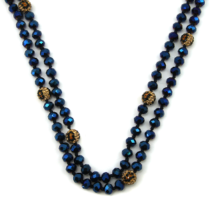 Necklace 774f 67 30 60 inch bead necklace leopard bead accents 37