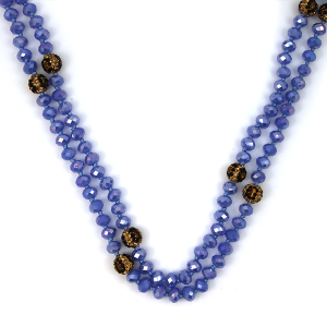 Necklace 129b 67 Bach 30 60 inch bead neckalce leopard accent blue