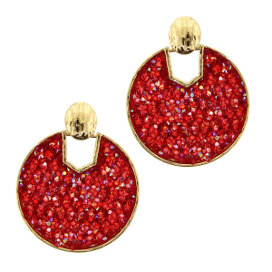 Earring 5046a 69 contemporary round hoop rhinestone red