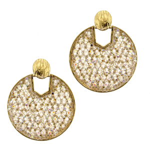 Earring 4514a 69 contemporary round hoop rhinestone white