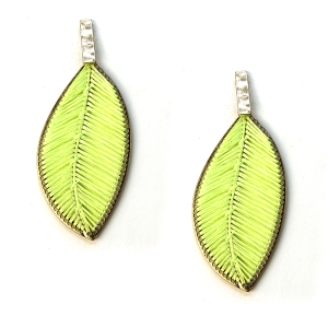 Earring 746f 69 leaf wire weave earrings neon yellow
