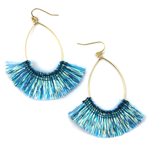 Earring 3669b 69 contemporary fringe fan earrings tear drop blue