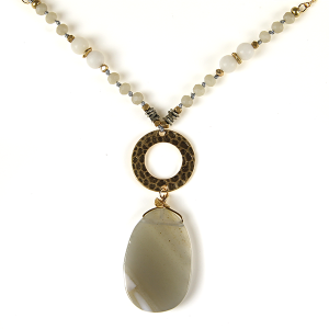 Necklace 833 69 contemporary bead resin gem necklace ivory