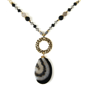 Necklace 842 69 contemporary bead resin gem necklace black