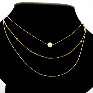 Necklace 377c 69 three layer contemporary pearl necklace gold