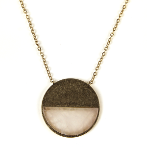 Necklace 635a 82 Avant contemporary circle pendant resin necklace beige