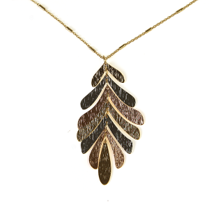 Necklace 470b 71 contemporary leaf dangle necklace multicolor