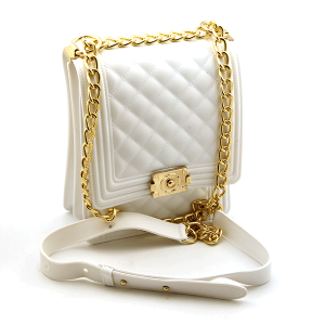 Caleesa 7056 quilted jelly crossbody white