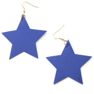 Earring 2621b 70 H Star Earrings Leather Blue USA