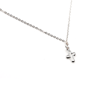 Necklace 170 70 H simple rounded cross necklace silver