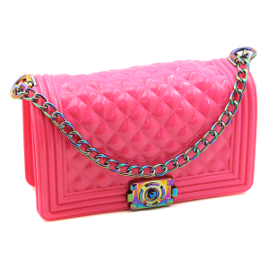 Caleesa 7145 quilted jelly crossbody neon rose