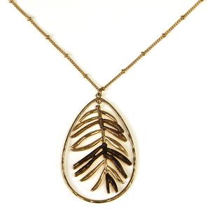 Necklace 492a 71 Viola contemporary tear drop leaf necklace gold brown