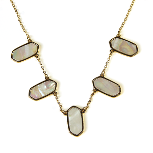 Necklace 346b 71 Viola abalone hex gem necklace gold white