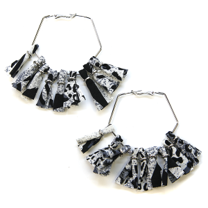 Earring 2051a 71 Viola fabric tassel earrings hoop black leopard