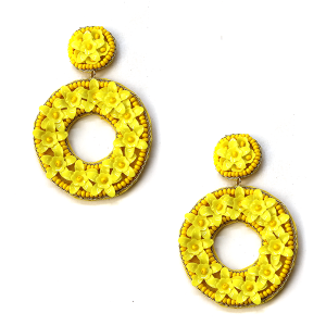 Earring 847m 71 Viola Flower Earrings seed bead stud hoop yellow