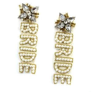 Earring 4683 71 Viola seed bead stud dangle BRIDE earrings white