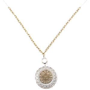 Necklace 929i 77 Pomina chain filigree circle hoop free pendant silver gold