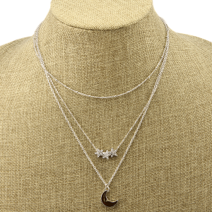 Necklace 1558b 77 Pomina 3 piece moon and stars set silver