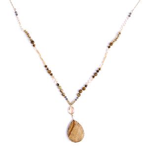 (Necklace 248n 77 Pomina) Semi Precious stone & Bead tear drop necklace brown/tan