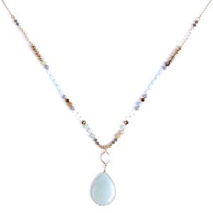 (Necklace 246s 77 Pomina) Semi Precious stone & Bead tear drop necklace turquoise/gray
