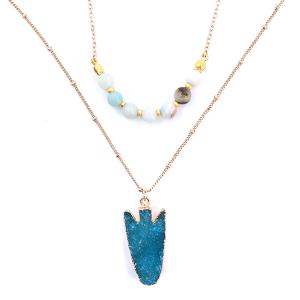 Necklace 1204h 77 Pomina gold raw druzy arrow stone semi precious beads mint