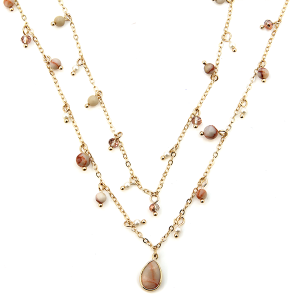 Necklace 701h 77 Pomina double layer semi precious stone accent tear drop necklace gold pink