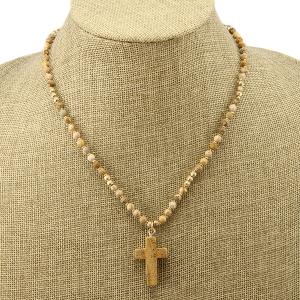 Necklace 1553b 77 Pomina beaded stone cross brown