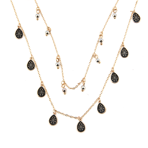Necklace 1748b 77 Pomina contemporary double layer tear drop filigree necklace gold black