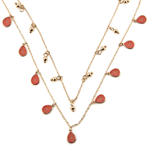 Necklace 1751c 77 Pomina contemporary double layer tear drop filigree necklace gold coral