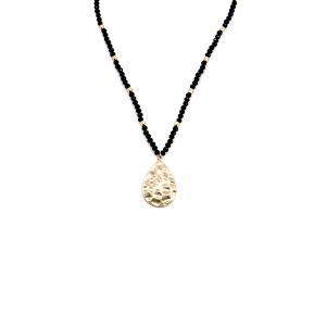 Necklace 157 77 Pomina bead tear drop black gold