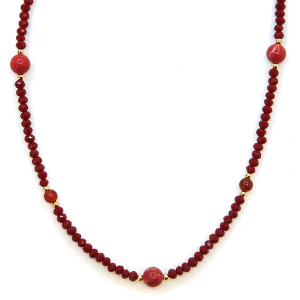 Necklace 539f 77 Pomina contemporary bead necklace burgundy