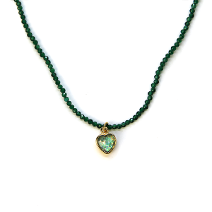 Necklace 2216 77 Pomina bead necklace heart choker green
