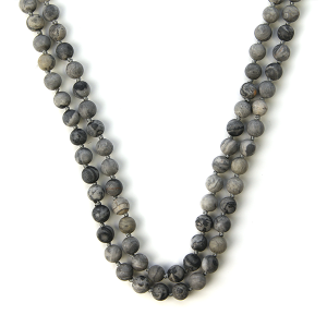 Necklace 1075 77 Pomina semi precious bead necklace gray