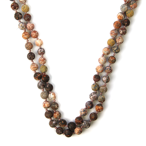 Necklace 1083 77 Pomina semi precious bead necklace red brown