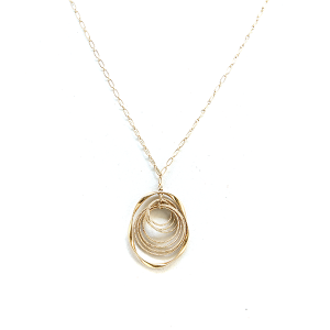 Necklace 1012a 77 Pomina contemporary revolving circle chain necklace gold