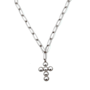 Necklace 1117b 77 Pomina chain bead cross necklace silver
