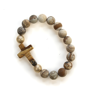 Bracelet 641d 77 Pomina semi precious bracelet bead cross brown