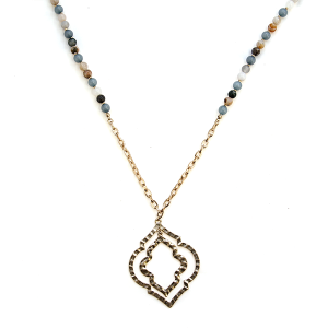 Necklace 448a 77 Pomina bead filigree contemporary necklace gold blue multi